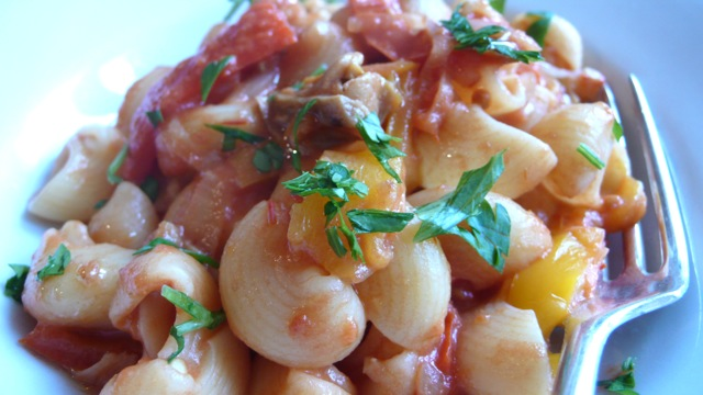 lumachine pasta in a sweet pepper and porcini sauce