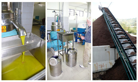 centrifuge, containers and left overs of olive oil production