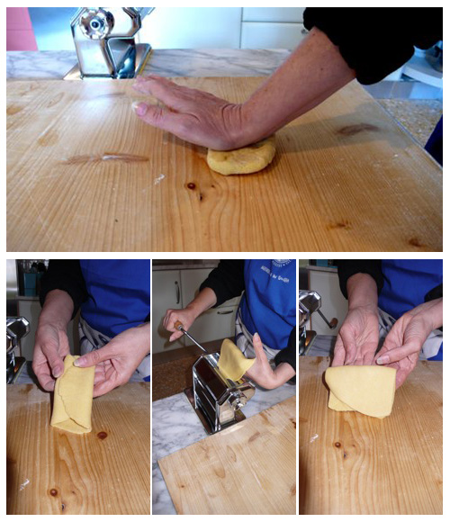 how to fold and feed pasta dough through a pasta machine
