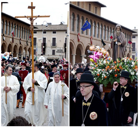 The Procession of saint Anthony, his statue is carried by the Priors