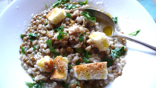 Umbrian lentil and farro soup