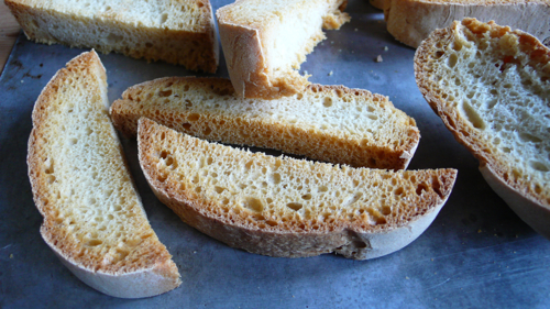 crusty bread which has been toasted to make breadcrumbs