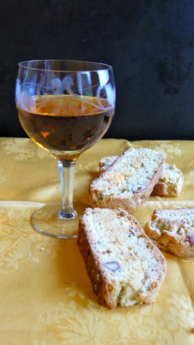 hazelnut biscotti served with a sweet wine