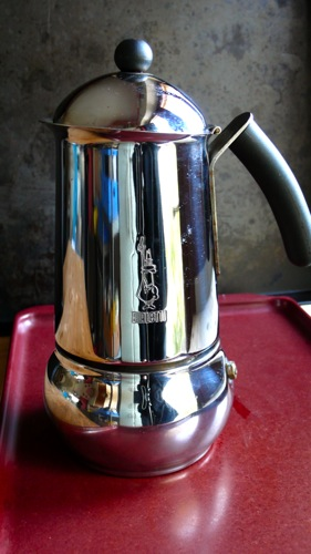 a stainless steel verion of the iconic Italian coffee maker