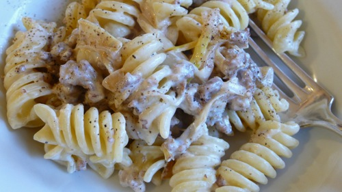 fusilli with Norcina sauce