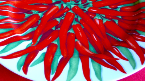 beautiful chilies on Taitu porcelain from my kitchen collection