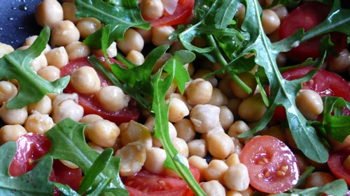 crunchy, lemony and soft at the same time, a garbanzo bean salad
