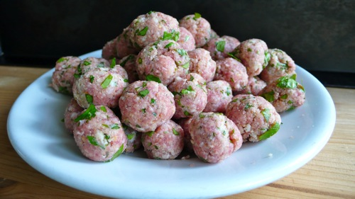 tiny pork meatballs, a staple of our family