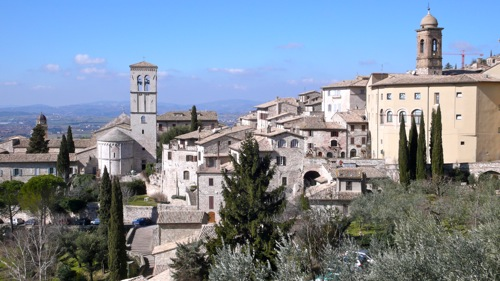Medieval Assisi perched on the slopes of the Subasio Mountain