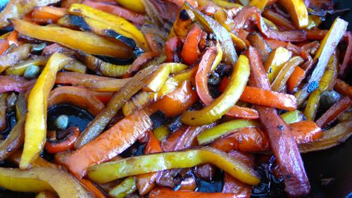 a very Italian stir fry, balsamic glazed bell peppers