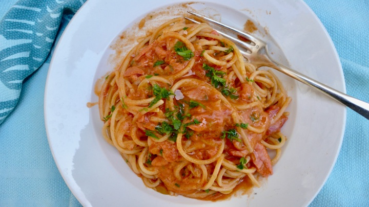 Salmon and brandy pasta recipe
