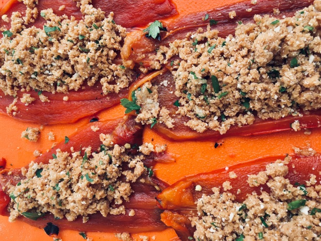 sweet pepper grilled and stuffed with seasoned bread crumbs