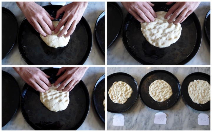 to keep the air pockets, stretch your dough with your hands rather than rolling