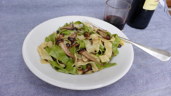 fresh pappardelle pasta with chiodini mushrooms, the secret to elegance is in the simplicity