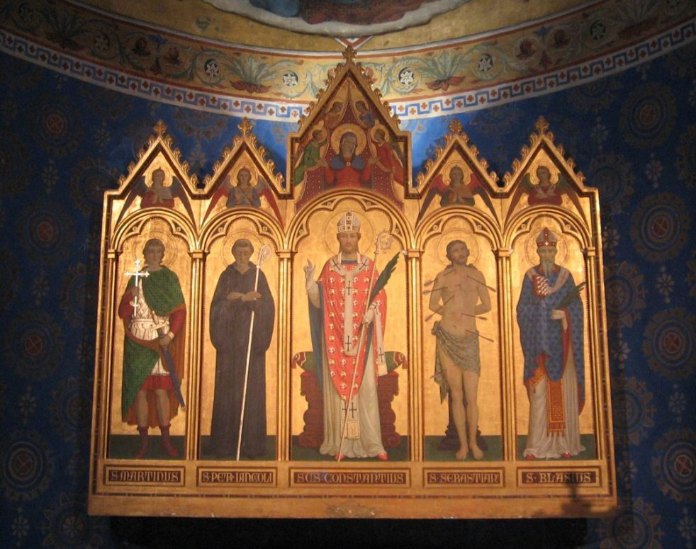 San Costanzo's image occupies the center place of the church's XIX century altarpiece