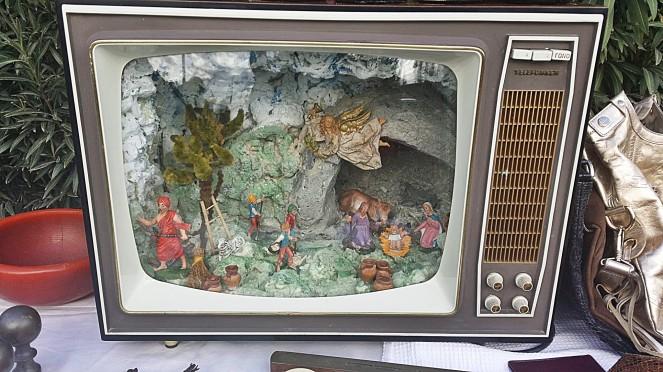 Italian Nativity scene made inside a TV