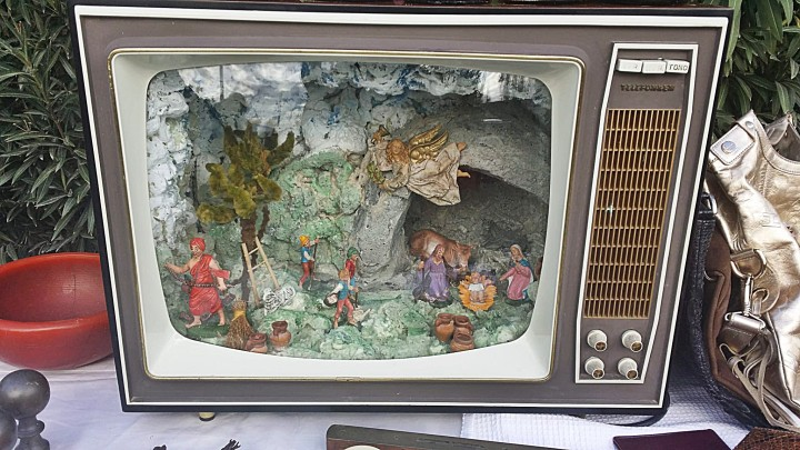 Italian Nativity scene made inside a TV