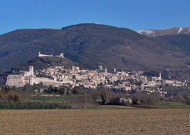 medieval hill town Assisi in Umbria near Tuscany