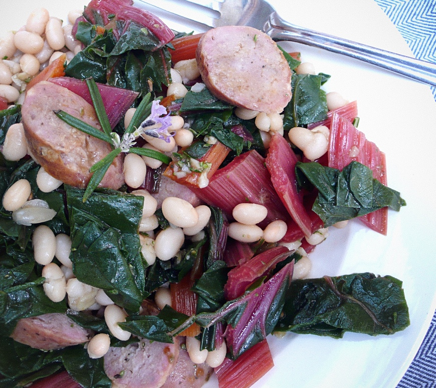 White cannellini beans and sausage Italian recipe